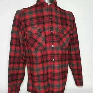 Vtg PENDLETON USA Wool Board Shirt Plaid Tartan